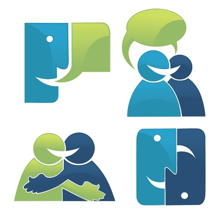 communication icons: vector collection of talking, speaking and communication icons, signs and symbols