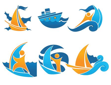 vocation: sea, summer and vocation, vector collection of icons