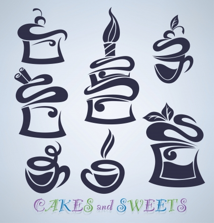 vector collection of cakes, sweets and drinks silhouettes Vector