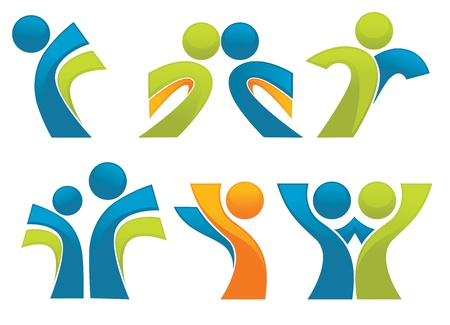 active life: abstract sportive people symbols collection