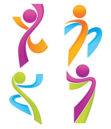 sportieve mensen symbolen lijken linten collectie