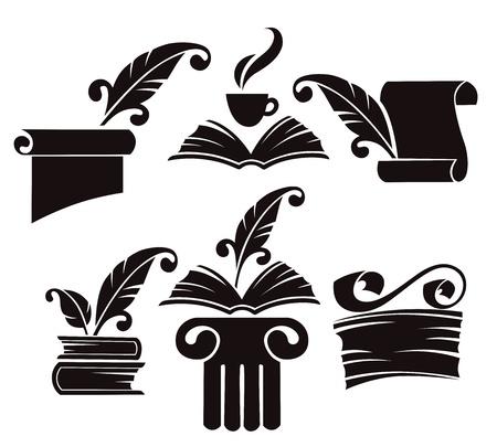 colección de libros antiguos, pergaminos y símbolos de la historia Ilustración de vector