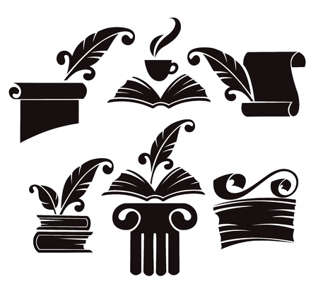 quill pen:  collection of old books, parchment and history symbols Illustration