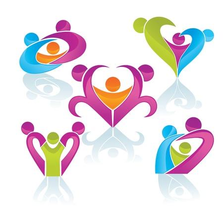 family clipart: famiglia felice in brillante collezione di colori, concetto Vettoriali