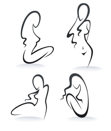 face surgery: beautiful girls, collection of woman silhouettes Illustration