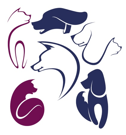 cat silhouette: cats and dogs,  collection of pets symbols