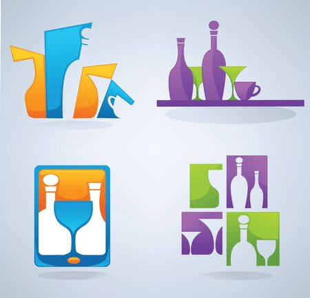 communicator:  collection of wine, glass, cocktail and coffee symbols and signs  Illustration