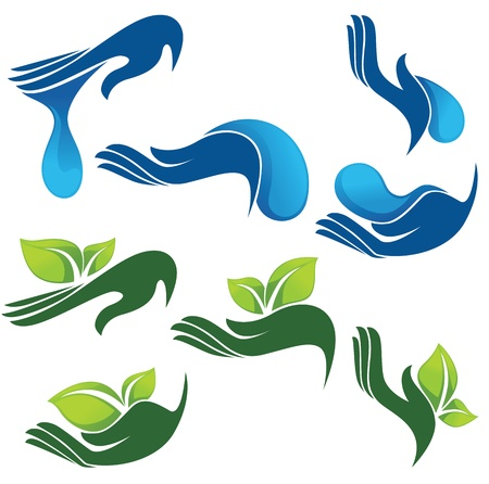 ecology emblem: collection of eco and beauty symbols Illustration