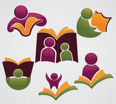 collection de vecteur de symboles de l'éducation et de la lecture et des icônes Vecteurs