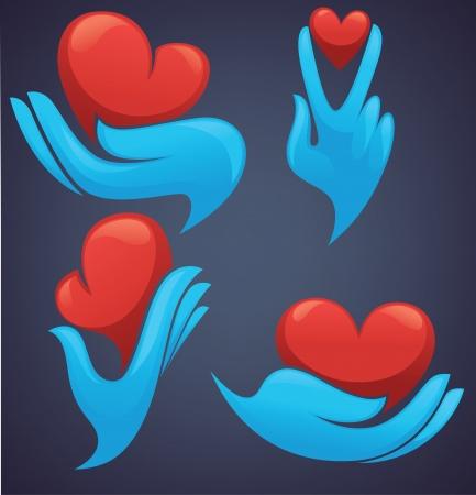 인간의 손과 장식 마음의 상징 일러스트