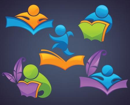 collection de vecteur de symboles de l'éducation et de la lecture et des icônes sur fond sombre Vecteurs