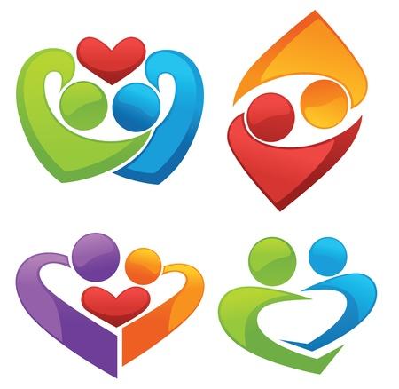 pareja saludable: s�mbolos del amor y los amantes Vectores