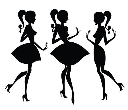 collection of fashionable girl silhouettes  Vector