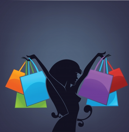 happy shopper: commercial background with girl silhouette and shopping bags