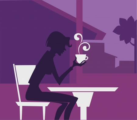 small girl: coffee time,  background with image of girl in small cafe