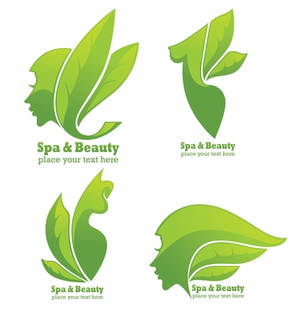 skin care woman: collection of spa and beauty symbols and signs Illustration