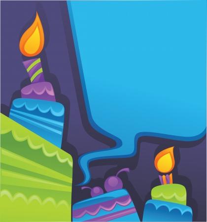 happy birthday party: fondo con la imagen de las tortas de cumplea�os, velas y burbujas del discurso