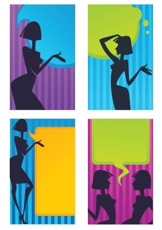 body art: commercial background and headers with girl silhouette and speech bubbles