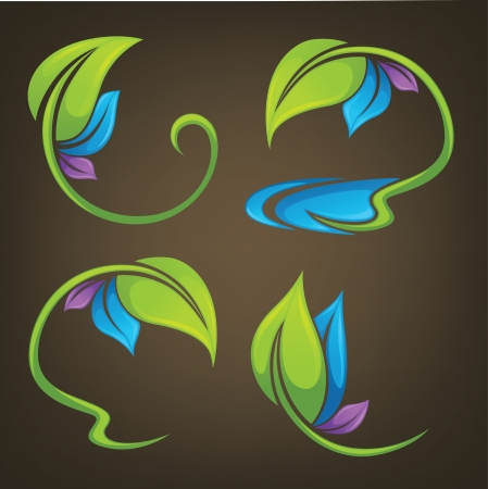 collection of colorful leaf frames on dark background  Vector