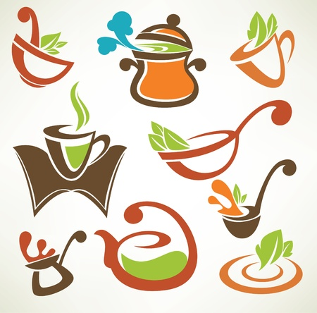 soup spoon: Cook food, vector collection of cooking equipment and food symbols