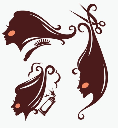 stylists: collection of women  head silhouettes and hairdresser equipment