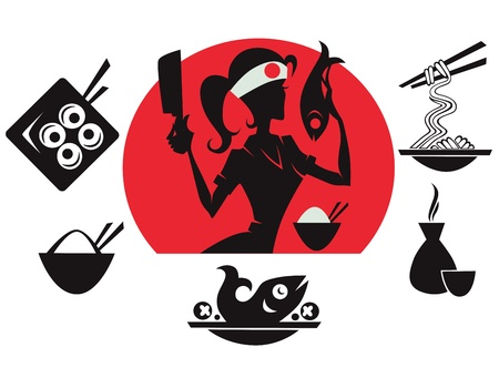 beautiful sushi chief, asian food silhouettes  Stock Vector - 16135997