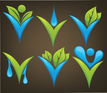 drop and leaves signs and marks Vector