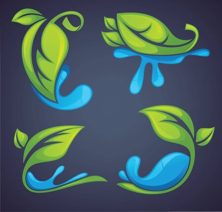 bright leaves and water drops on dark background Vector