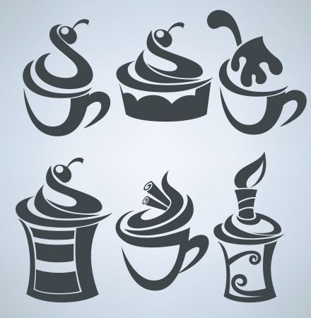 cups silhouette: Vector collection of cakes and sweet drinks