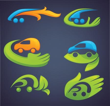 eco slogan: transporte ecol�gico, la colecci�n vector de iconos y s�mbolos