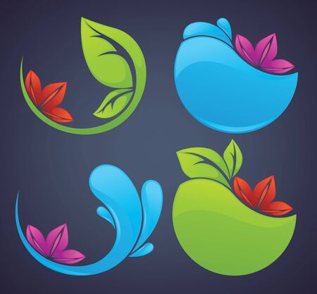 nature stickers and symbols on dark background Vector