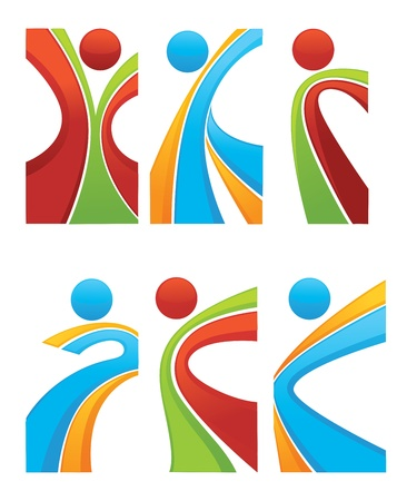sportive: active and sportive abstract people Illustration