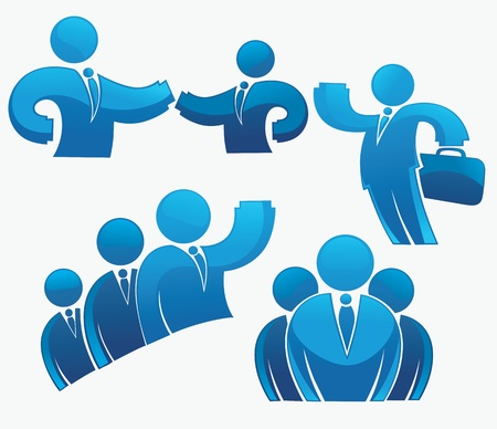 team leader: collection of office workers and business team Illustration