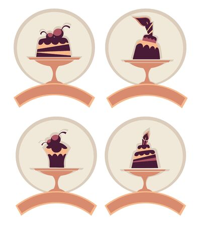 dessert labels, stickers or menu covers, vector collection Stock Vector - 16262496