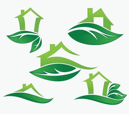 safe house: set of ecological city and homes Illustration