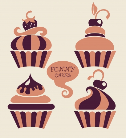 cupcake illustration: funny cartoon cupcakes collection