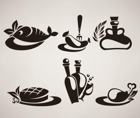 collection of food silhouettes Vector