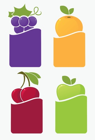 apple juice: fresh fruits and berries stickers and labels