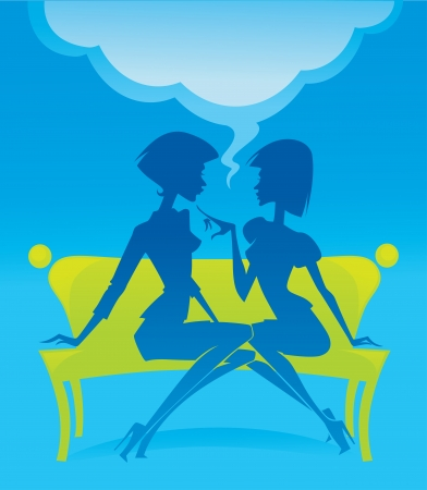 two women talking: fashionable chatting girls silhouettes sitting on green bench Illustration