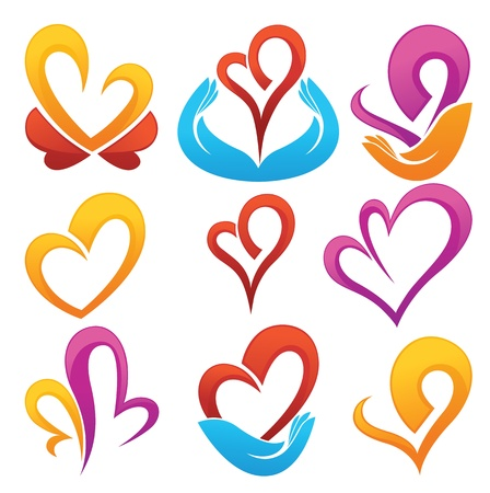 cuore in mano: raccolta di amore concetto, etichette e moduli