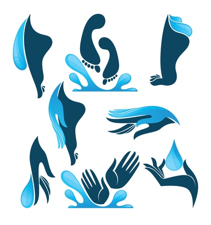safe water: life in water, collection of clean women hands and foot Illustration