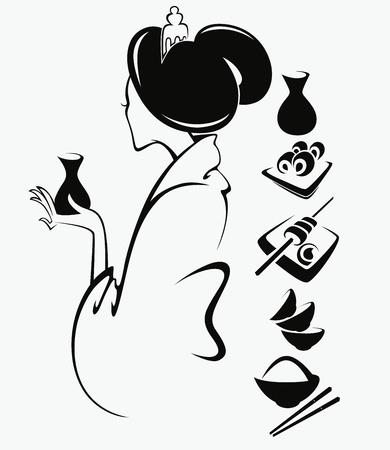 japanese sake: imagen de chica japonesa con comida tradicional Vectores