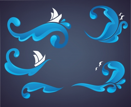 gull: ocean wave, collection of stickers and labels Illustration