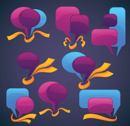 business communication:  bubbles for speech with glossy ribbons on dark background