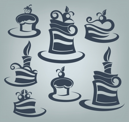 spice cake: cakes and sweets, collection of delicious symbols