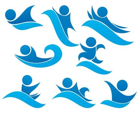 aqua park: collection of aqua park and swimming symbols Illustration