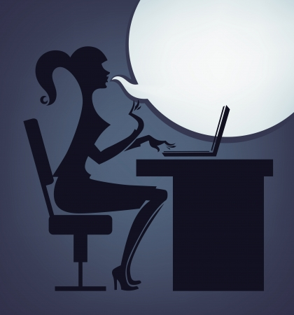 fashionable office girl and speech bubble Vector
