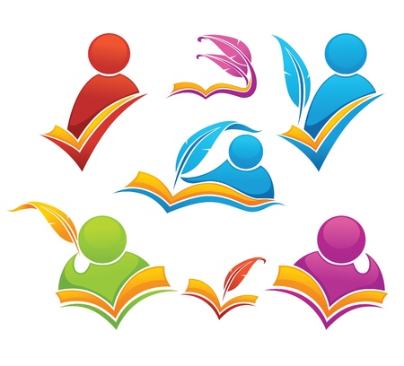 reading and writing symbols, books and education Vector