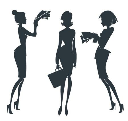 teamleider: vector verzameling van zakelijke meisje silhouetten Stock Illustratie