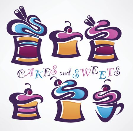 Collection of funny colored sweets and cakes Vector